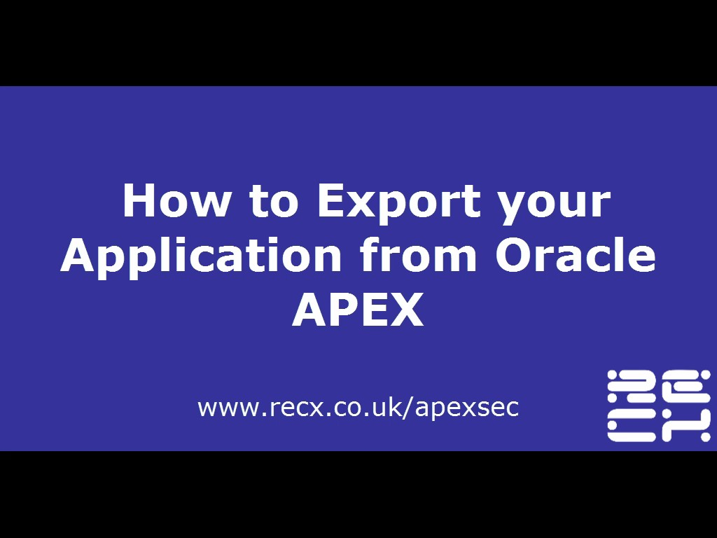Exporting an Application from Oracle Apex | ApexSec